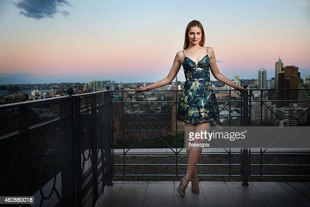 Australian model Bridget Malcolm poses during a photo shoot at The Sheraton on the Park in Sydney New South Wales