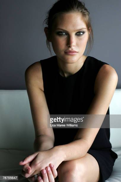 Australian model Catherine McNeil poses for photographs during the Australian launch for the 2008 Pirelli Calendar at the Intercontinental Hotel on...