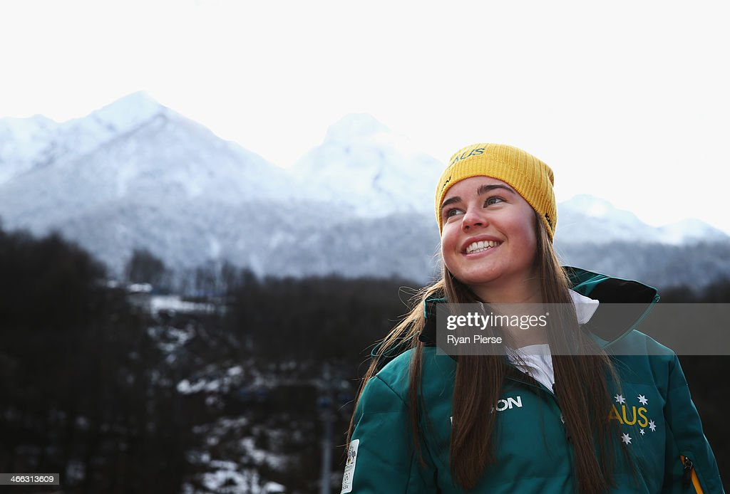 Australian Mogul Skier Britt Cox poses following an Australian Olympic Team press conference at Rosa Khutor Mountain Village Cluster on February 1, 2014 in Sochi, Russia.