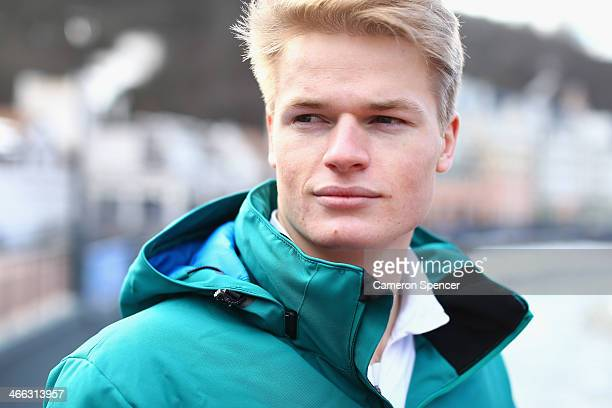 Australian mogul skier Brodie Summers poses for a portrait following an Australian Olympic team mogul skiers press conference in Rosa Khutor Mountain...