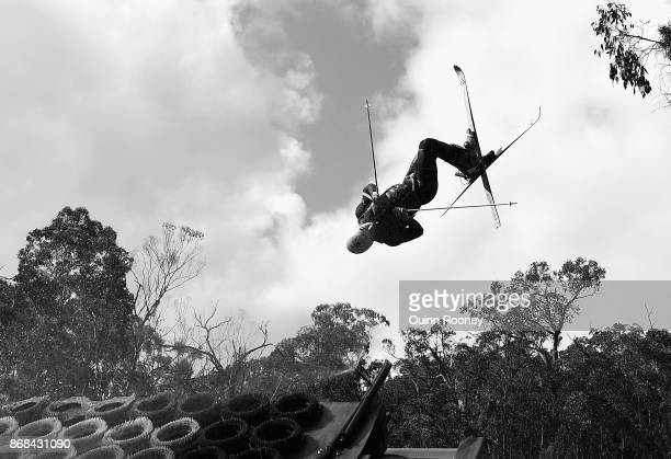 Australian mogul skier Matt Graham goes off the water jump during an Australian Ski Jump training session on October 31 2017 in Melbourne Australia