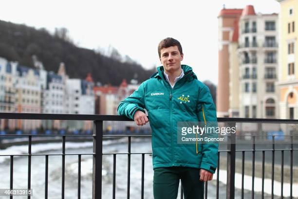 Australian mogul skier Matt Graham poses for a portrait following an Australian Olympic team mogul skiers press conference in Rosa Khutor Mountain...