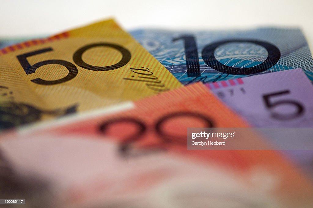 Australian Money- Mixed Notes : Stock Photo