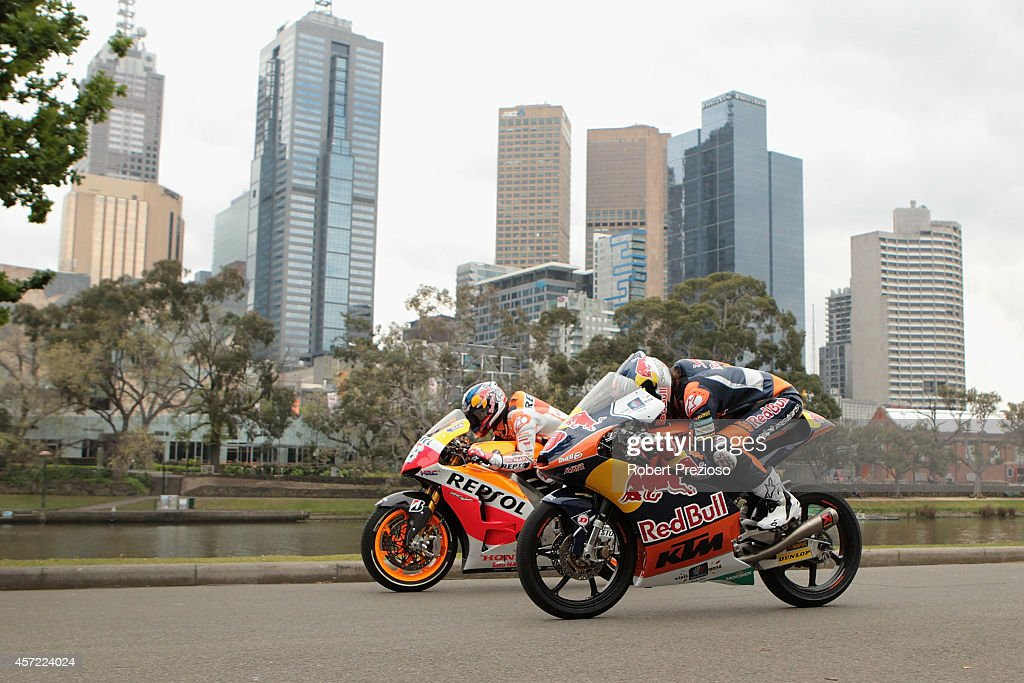Australian Moto 3 rider <a gi-track='captionPersonalityLinkClicked' href=/galleries/search?phrase=Jack+Miller+-+Piloto+motociclista&family=editorial&specificpeople=14824906 ng-click='$event.stopPropagation()'>Jack Miller</a> and Spanish Moto GP rider Dani Pedrosa perform ride during a bike run on Yarra River on October 15, 2014 in Melbourne, Australia.