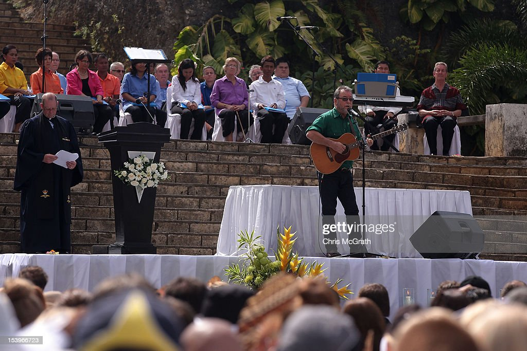 Australian musician John Williamson sings a song dedicated to the victims, during the Bali Bombing 10th anniversary ceremony held at Garuda Wisnu Kencana on October 12, 2012 in Jimbaran, Bali Indonesia. Hundreds of family members, friends and general public gathered to remember the victims of the 2002 Kuta nightclub bombings which killed 202 people, including 88 Australians.