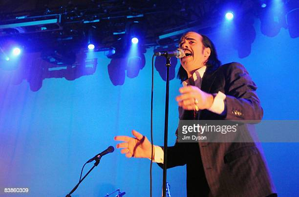 Australian musician Nick Cave performs with his band the Bad Seeds at the Troxy on November 29 2008 in London England