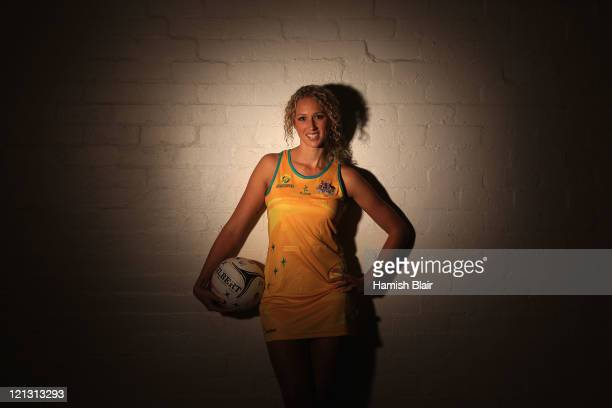 Australian netball player Erin Bell poses during a portrait session on August 18 2011 in Melbourne Australia