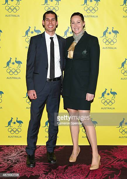 Australian Olympian Jana Pittman and Chris Rawlinson pose during an Australian Olympic Fundraising Dinner at Star City on August 5 2015 in Sydney...
