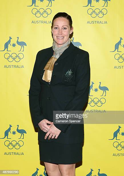 Australian Olympian Jana Pittman poses during an Australian Olympic Fundraising Dinner at Star City on August 5 2015 in Sydney Australia
