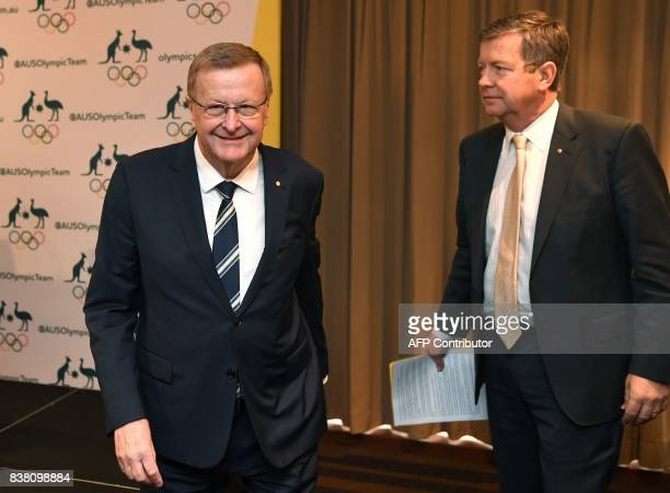Australian Olympic Committee chief John Coates leaves a press conference with AOC chief executive Matt Carroll in Sydney on August 24 2017 An...