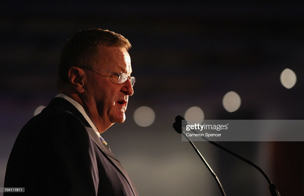 Australian Olympic Committee president <a gi-track='captionPersonalityLinkClicked' href=/galleries/search?phrase=John+Coates&family=editorial&specificpeople=233445 ng-click='$event.stopPropagation()'>John Coates</a> talks during the Sydney 2000 Anniversary dinner as part of celebrations marking the 10th anniversary of the Sydney 2000 Olympics at Sydney Olympic Park Sports Centre on September 15, 2010 in Sydney, Australia. The celebrations included appearances from Olympians & Paralympians, opening ceremony recreation and the re-lighting of the Olympic Cauldron.