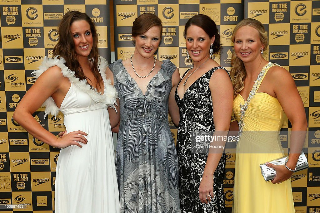 Australian Olympic gold medal relay team Brittany Elmslie, Cate Campbell, Alicia Coutts and Melanie Schlanger pose at the 2012 Swimmer of the Year Awards at the Melbourne Museum on November 24, 2012 in Melbourne, Australia.
