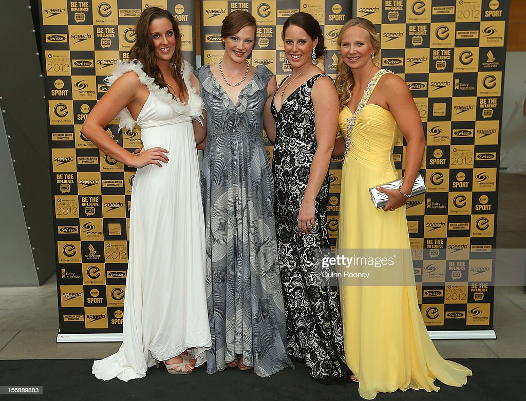 Australian Olympic gold medal relay team <a gi-track='captionPersonalityLinkClicked' href=/galleries/search?phrase=Brittany+Elmslie&family=editorial&specificpeople=9029839 ng-click='$event.stopPropagation()'>Brittany Elmslie</a>, <a gi-track='captionPersonalityLinkClicked' href=/galleries/search?phrase=Cate+Campbell+-+Swimmer&family=editorial&specificpeople=4115465 ng-click='$event.stopPropagation()'>Cate Campbell</a>, <a gi-track='captionPersonalityLinkClicked' href=/galleries/search?phrase=Alicia+Coutts&family=editorial&specificpeople=2905127 ng-click='$event.stopPropagation()'>Alicia Coutts</a> and <a gi-track='captionPersonalityLinkClicked' href=/galleries/search?phrase=Melanie+Schlanger&family=editorial&specificpeople=635841 ng-click='$event.stopPropagation()'>Melanie Schlanger</a> pose at the 2012 Swimmer of the Year Awards at the Melbourne Museum on November 24, 2012 in Melbourne, Australia.