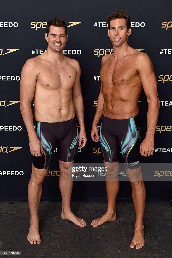 Australian Olympic swimmers Christian Sprenger and Grant Hackett during the New York launch of Team Speedo and Speedo's Fastskin LZR Racer X on...