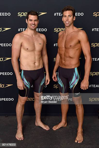Australian Olympic swimmers Christian Sprenger and Grant Hackett during the New York launch of Team Speedo and Speedo's Fastskin LZR Racer X on...