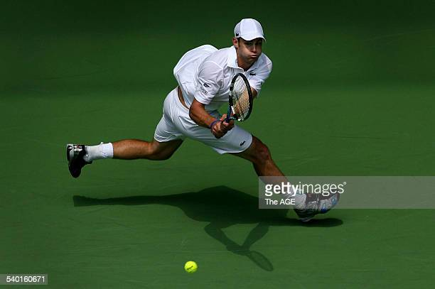 Australian Open 2007 American Andy Roddick during his victory over France's JoWilfried Tsonga during Round One of the Men's Singles at the Australian...