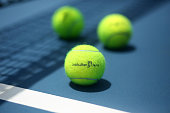 Australian Open branded tennis balls are seen on court ahead of the 2015 Australian Open at Melbourne Park on January 11 2015 in Melbourne Australia