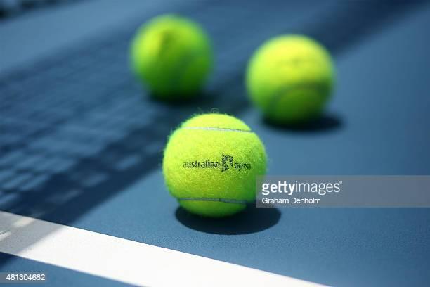 Australian Open branded tennis balls are seen on court ahead of the 2015 Australian Open at Melbourne Park on January 11 2015 in Melbourne Australia