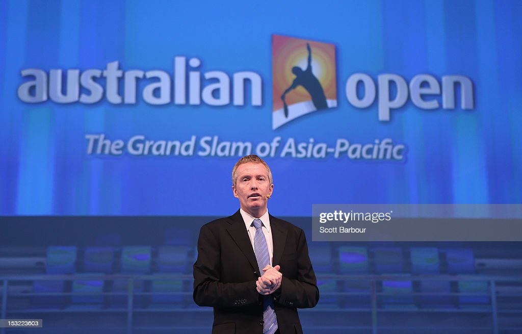 Australian Open tournament director <a gi-track='captionPersonalityLinkClicked' href=/galleries/search?phrase=Craig+Tiley&family=editorial&specificpeople=830467 ng-click='$event.stopPropagation()'>Craig Tiley</a> speaks during the 2013 Australian Open launch at Melbourne Park on October 2, 2012 in Melbourne, Australia.