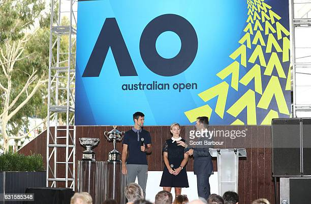 Australian Open winners Novak Djokovic of Serbia and Angelique Kerber speak on stage under the new Australian Open logo during the 2017 Australian...