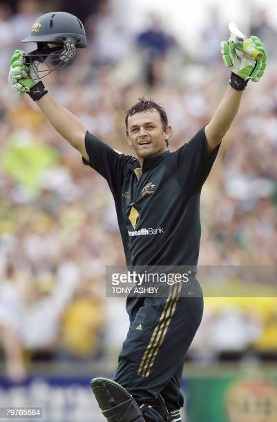 Australian opening batsman Adam Gilchrist celebrates his century during the one day international match against Sri Lanka at the WACA ground in Perth...