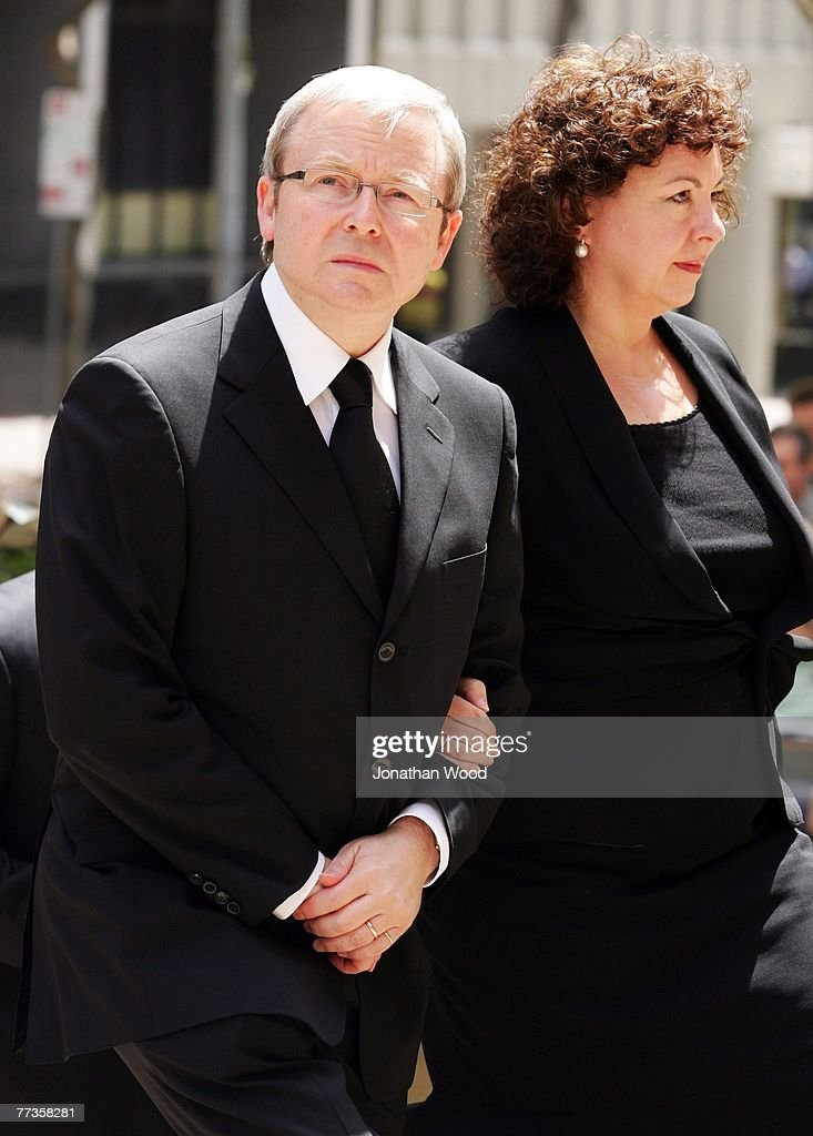 Australian opposition leader Kevin Rudd and his wife Therese Rein attend the military funeral of Trooper David Pearce at the Cathedral of Saint...