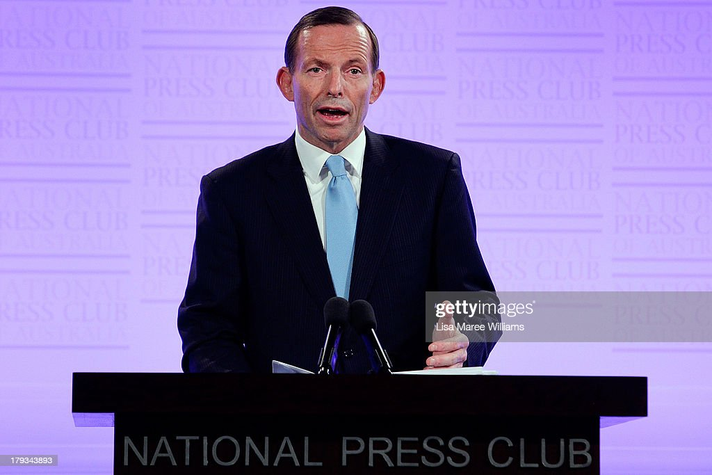 Australian Opposition Leader, <a gi-track='captionPersonalityLinkClicked' href=/galleries/search?phrase=Tony+Abbott&family=editorial&specificpeople=220956 ng-click='$event.stopPropagation()'>Tony Abbott</a> addresses the media at the National Press Club on September 2, 2013 in Canberra, Australia. According to the News Limited Newspoll, the Coalition is up 8 points on Labor on a two-party preferred basis, with <a gi-track='captionPersonalityLinkClicked' href=/galleries/search?phrase=Tony+Abbott&family=editorial&specificpeople=220956 ng-click='$event.stopPropagation()'>Tony Abbott</a> surpassing Kevin Rudd in the poll as preferred Prime Minister 43 to 41 per cent. Australian voters will head to the polls on September 7 to elect the 44th parliament.