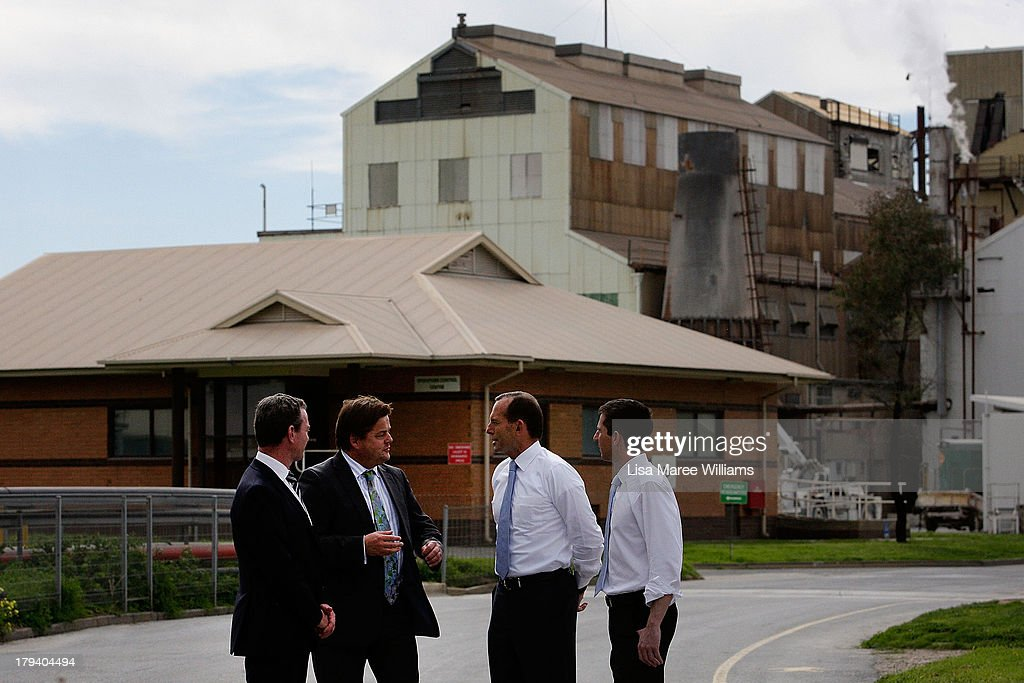 Australian Opposition Leader, Tony Abbott, Manager of Opposition Business in the House, Chris Pyne, Guy Roberts and Simon Birmingham MP tour the Penrice Soda Holdings factory on September 3, 2013 in Adelaide, Australia. In the 2010 election the Australian Labor Party recorded its highest two-party-preferred vote since 1969 in South Australia, but if nationwide polling proves accurate the Liberal-National Party coalition believe they can gain seats in the state.