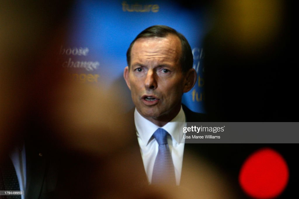 Australian Opposition Leader, <a gi-track='captionPersonalityLinkClicked' href=/galleries/search?phrase=Tony+Abbott&family=editorial&specificpeople=220956 ng-click='$event.stopPropagation()'>Tony Abbott</a> speaks at a press conference on September 4, 2013 in Sydney, Australia. With just three days of campaigning before Saturday's Federal Election it looks increasingly unlikely that the Australian Labor Party will hold on to government as the Liberal-National Party coalition pulls ahead in polling.