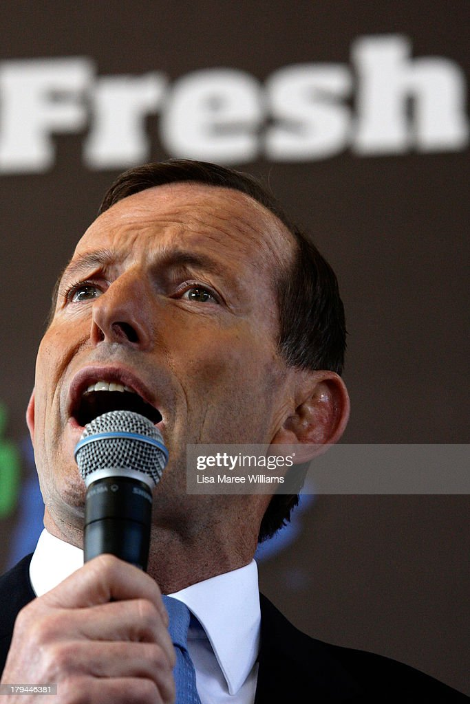 Australian Opposition Leader, <a gi-track='captionPersonalityLinkClicked' href=/galleries/search?phrase=Tony+Abbott&family=editorial&specificpeople=220956 ng-click='$event.stopPropagation()'>Tony Abbott</a> speaks to voters at Sydney Market on September 4, 2013 in Sydney, Australia. With just three days of campaigning before Saturday's Federal Election it looks increasingly unlikely that the Australian Labor Party will hold on to government as the Liberal-National Party coalition pulls ahead in polling.