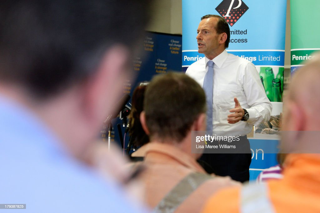 Australian Opposition Leader, <a gi-track='captionPersonalityLinkClicked' href=/galleries/search?phrase=Tony+Abbott&family=editorial&specificpeople=220956 ng-click='$event.stopPropagation()'>Tony Abbott</a> speaks to workers and the media at Penrice Soda Holdings on September 3, 2013 in Adelaide, Australia. In the 2010 election the Australian Labor Party recorded its highest two-party-preferred vote since 1969 in South Australia, but if nationwide polling proves accurate the Liberal-National Party coalition believe they can gain seats in the state.