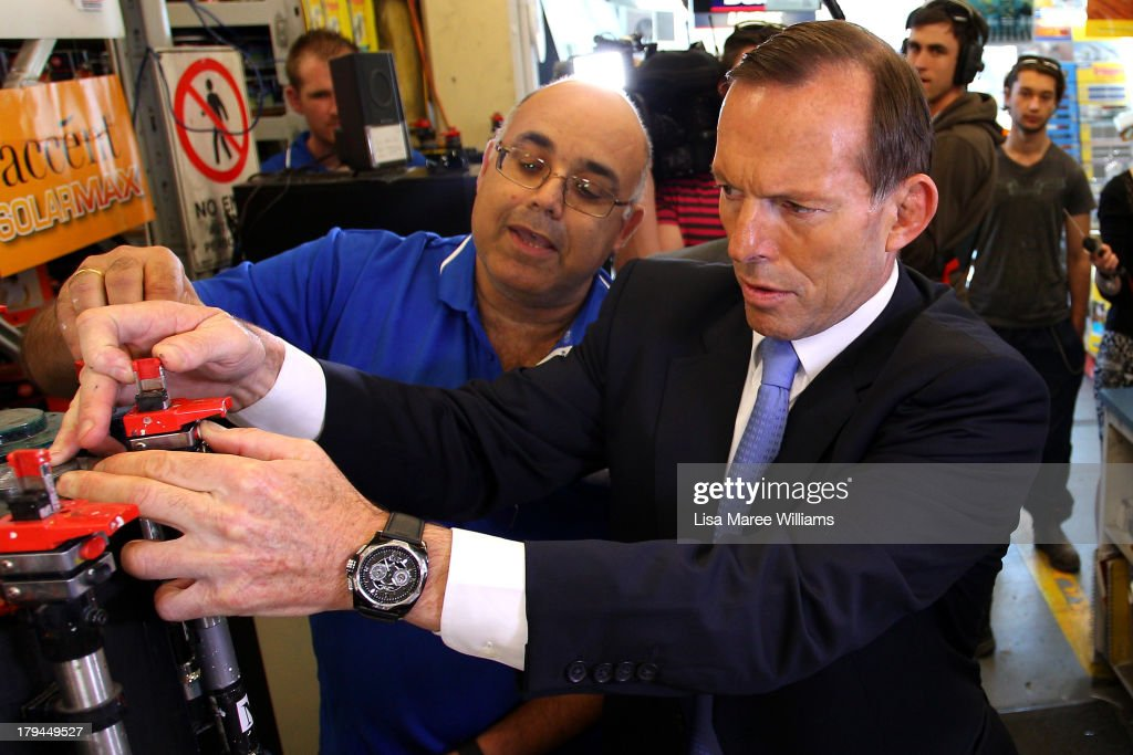 Australian Opposition Leader, <a gi-track='captionPersonalityLinkClicked' href=/galleries/search?phrase=Tony+Abbott&family=editorial&specificpeople=220956 ng-click='$event.stopPropagation()'>Tony Abbott</a> visits a Mitre 10 hardware store in the seat of Kingsford Smith, held by retiring Australian Labor Party MP Peter Garrett on September 4, 2013 in Sydney, Australia. With just three days of campaigning before Saturday's Federal Election it looks increasingly unlikely that the Australian Labor Party will hold on to government as the Liberal-National Party coalition pulls ahead in polling.