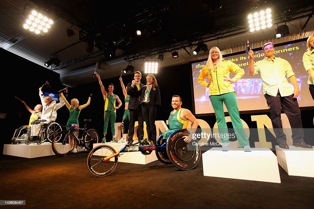 Australian Paralympians showcases the 2012 Australian Paralympic team uniform on the catwalk on day two of Mercedes-Benz Fashion Week Australia Spring/Summer 2012/13 at Overseas Passenger Terminal on May 1, 2012 in Sydney, Australia.