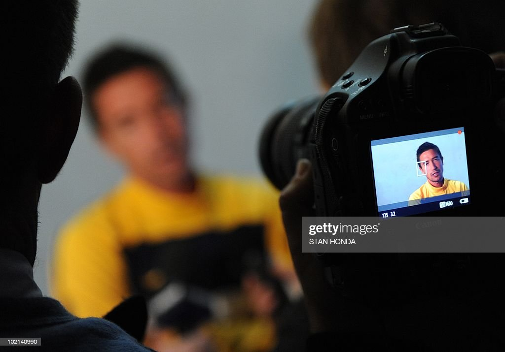 Australian player Harry Kewell speaks to the media before a team training session at Ruimsig Stadium in Roodepoort on June 16, 2010 during the 2010 World Cup football tournament. AFP PHOTO/Stan Honda