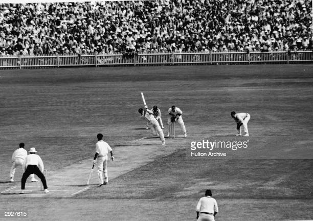 Australian player Keith Stackpole bats during the early innings of the third test in the 196869 series at the Sydney Cricket Ground Sydney Australia...