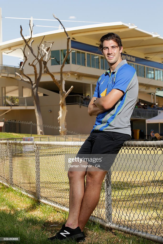 Australian player <a gi-track='captionPersonalityLinkClicked' href=/galleries/search?phrase=Pat+Cummins+-+Cricket+Player&family=editorial&specificpeople=15291768 ng-click='$event.stopPropagation()'>Pat Cummins</a> poses for a photo during day 4 of the National Indigenous Cricket Championships on February 11, 2016 in Alice Springs, Australia.