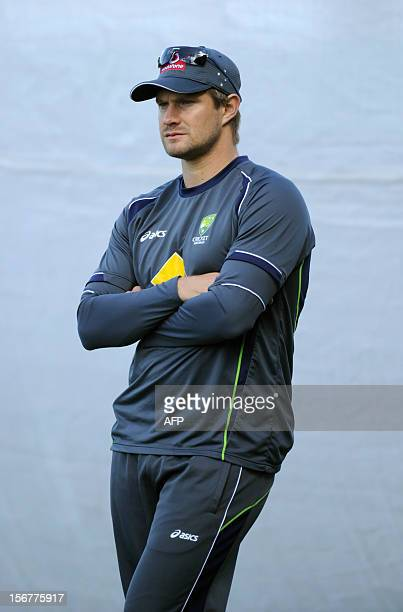 Australian player Shane Watson watches training in the nets ahead of the second cricket Test match against South Africa at the Adelaide Oval on...