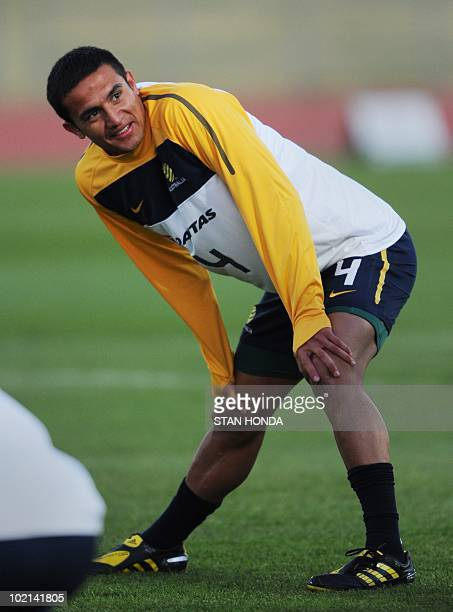 Australian player Tim Cahill during a team training session at Ruimsig Stadium in Roodepoort on June 16 2010 during the 2010 World Cup football...