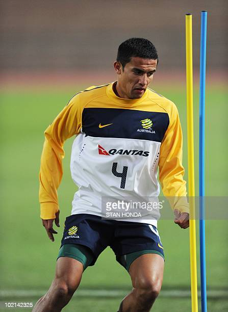 Australian player Tim Cahill runs a drill during a team training session at Ruimsig Stadium in Roodepoort on June 16 2010 during the 2010 World Cup...