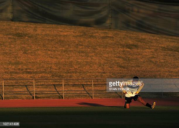Australian player Tim Cahill stretches during a team training session at Ruimsig Stadium in Roodepoort on June 16 2010 during the 2010 World Cup...