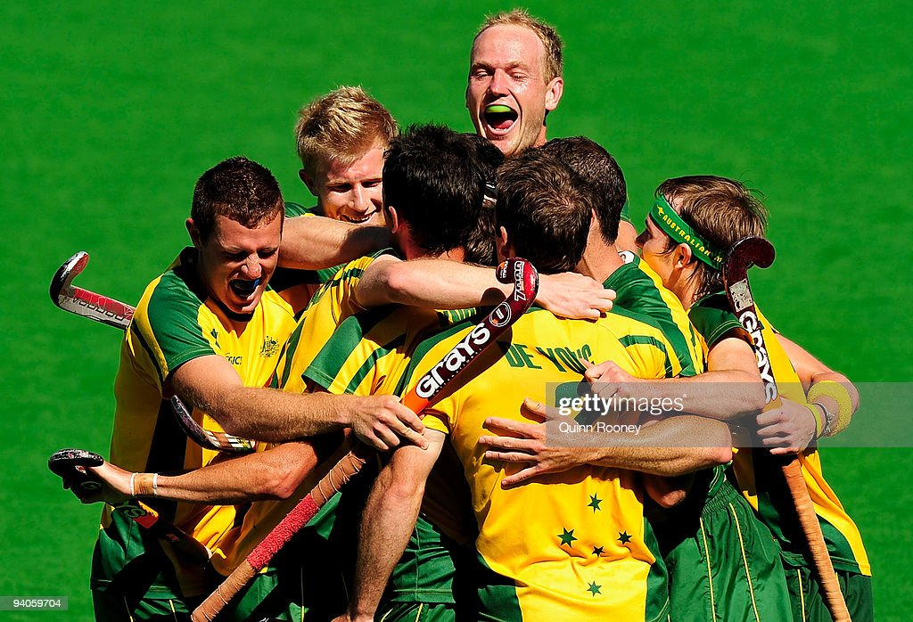 Australian players celebrate a goal by Fergus Kavanagh in the 2009 Hockey Champions Trophy 1st/2nd place playoff match between Australia and Germany...