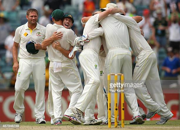 Australian players celebrate after defeating England and claiming a 30 series win on day five of the Third Ashes Test Match between Australia and...