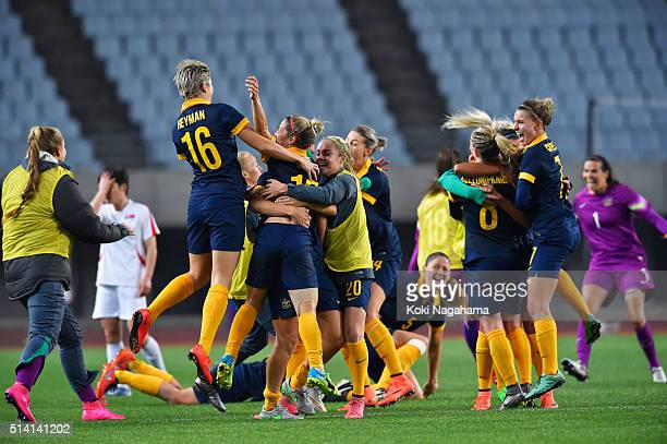 Australian players celebrate after their qualification for the Rio de Janeiro Olympics after their 21 win in the AFC Women's Olympic Final...
