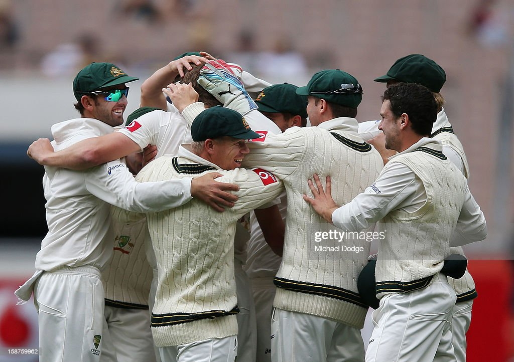 Australian players celebrate the dismissal that dismissal of Thilan Samaraweera of Sri Lanka during day three of the Second Test match between Australia and Sri Lanka at Melbourne Cricket Ground on December 28, 2012 in Melbourne, Australia.