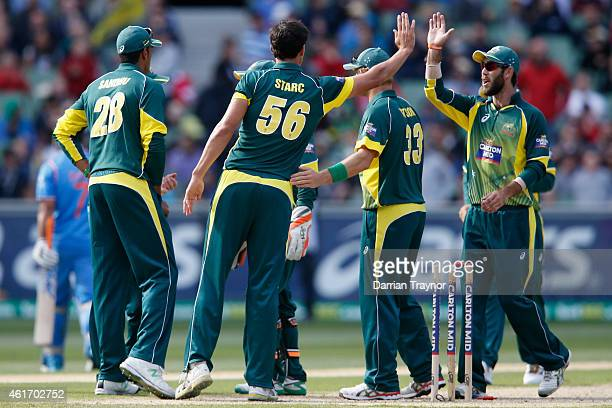 Australian players celebrate the wicket of MS Dhoni of India during the One Day International match between Australia and India at Melbourne Cricket...