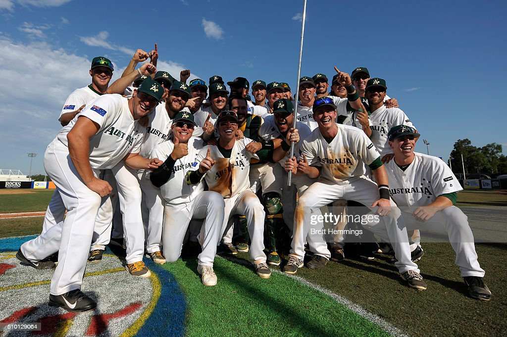 Australian players celebrate victory during the World baseball Classic Final match between Australia and South Africa at Blacktown International Sportspark on February 14, 2016 in Sydney, Australia.