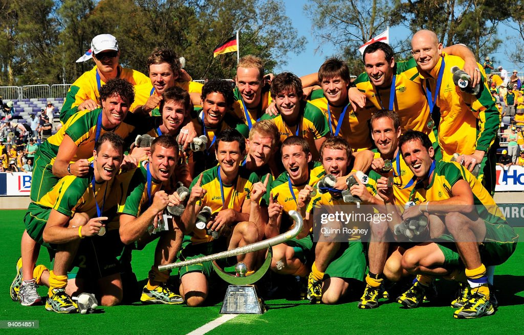 Australian players celebrate winning the 2009 Hockey Champions Trophy at the State Netball and Hockey Centre on December 6 2009 in Melbourne Australia
