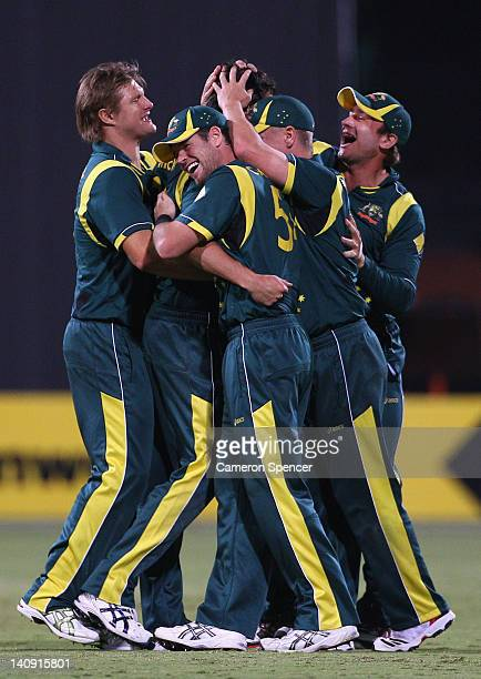 Australian players celebrate winning the third One Day International Final series match between Australia and Sri Lanka at Adelaide Oval on March 8...