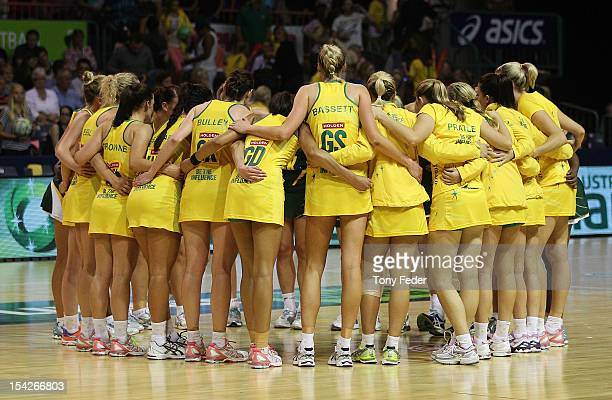 Australian players form a huddle during the 2012 Quad Series match between the Australian Diamonds and South Africa at Newcastle Entertainment Centre...