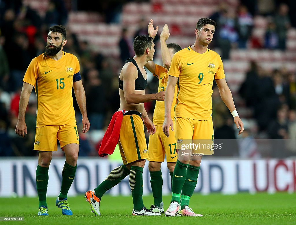 Australian players look dejected following the International Friendly match between England and Australia at Stadium of Light on May 27, 2016 in Sunderland, England.